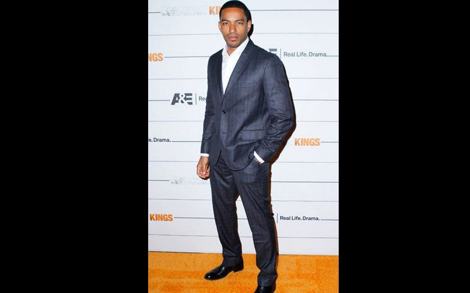 """Navy Plaid suit with grey overcast at """"Breakout Kings"""" Premiere"""