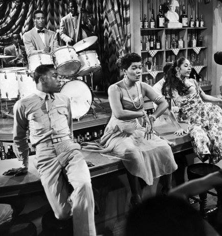 "Pearl Bailey and Carmen De Lavallade in the 1954 film ""Carmen Jones, with the legendary Max Roach on drums. Photo: Howard Morehead/EBONY"