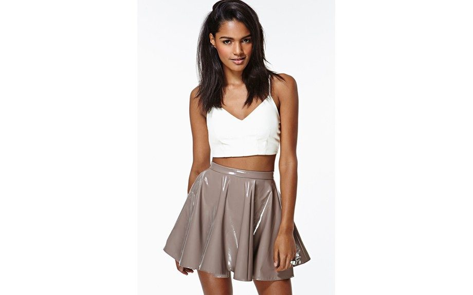 The pleated vinyl skirt is chic and perfect for most body types.