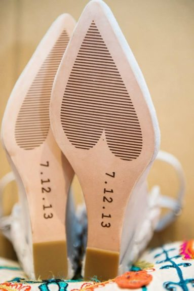 This is where the DIY begins! The bride designed her own wedding shoes