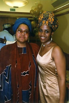 Mother and daughter on the Mshaka-Morris wedding day. Thembisa's mom passed away in 2007. She credits her mother with informing her passion in work and life.