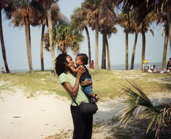"""Mommy and Amal in the Gullah Islands. """"My mission as a parent is for my sons to grow up to know that this world is for them. And they can be who they want to be in it."""""""