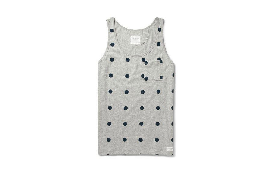 "Printed Polka Dot Tank - <a href=""http://www.mrporter.com/product/435156"" target=""_blank"">Saturdays Surf NYC</a> $50"