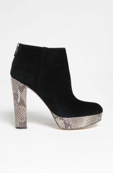 Leslie Bootie by Michael Kors:$97 at Nordstrom's. These black booties with snakeskin print on the heel are sure to turn heads. The bootie is rather versatile. It can be worn with a full skirt and sweater or with a pair of skinnies and a blouse and blazer.