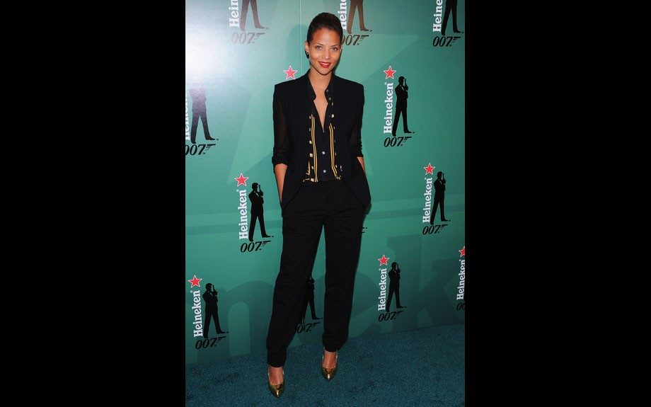 "Denise Vasi was spotted at the ""Crack The Case"" Event in an Equipment printed shirt, and black trousers with Giuseppe pumps."