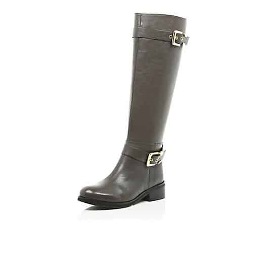 "<font size=""2""><span style=""font-size:10pt;"">From Country to City-bound, these riding boots fit the bill. River Island Grey Buckle Trim Riding Boots ($100; sears.com)</span></font>"