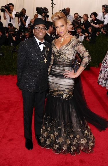 Spike Lee and Tonya Lewis Lee at the 2015 Met Costume Institute Gala
