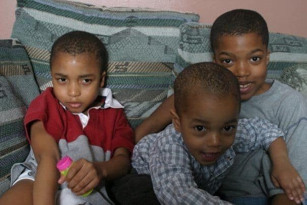 """The young Bufords. Here, Che is 4, Kofi almost a year old, and Amal is 6. Howard says, """"The boys are the constant between us. Delphine and I have a good relationship, and we have an understanding of what's healthy for our sons."""""""