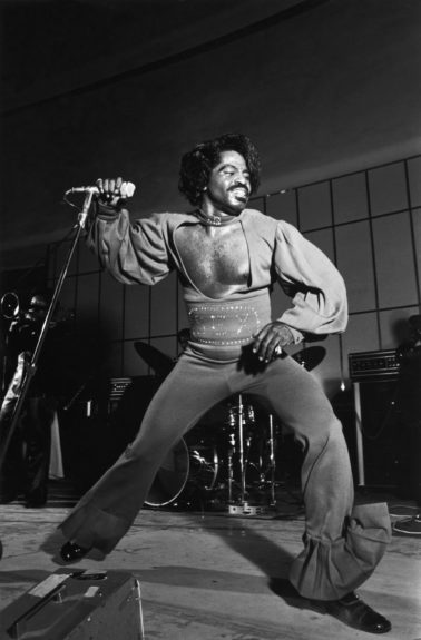 "Godfather of Soul James Brown lets loose during at a show during his 1974 nationwide summer revue.  (Norman L. Hunter/Ebony Collection) Sponsored By: <a href=""http://www.getonupmovie.com/"" target=""_blank"">Get On Up</a> Now Playing!"