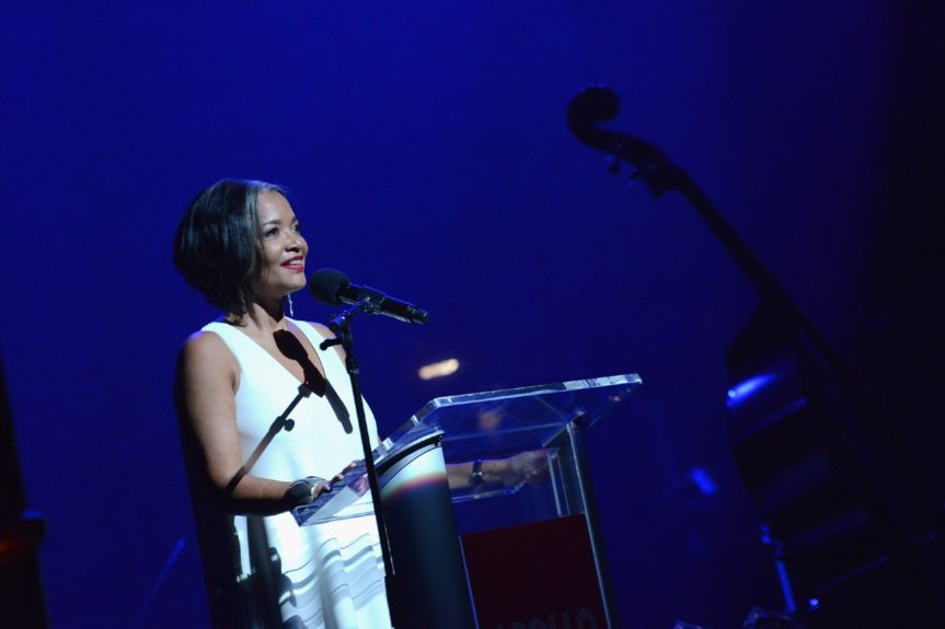 Jonelle Procopewelcomes guests at the 10th annual Apollo Spring Gala