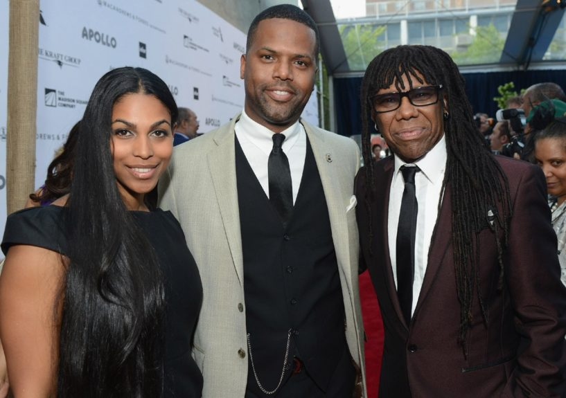 A. J. Calloway and wife arrive with Nile Rodgers at the10thannualApollo Spring Gala