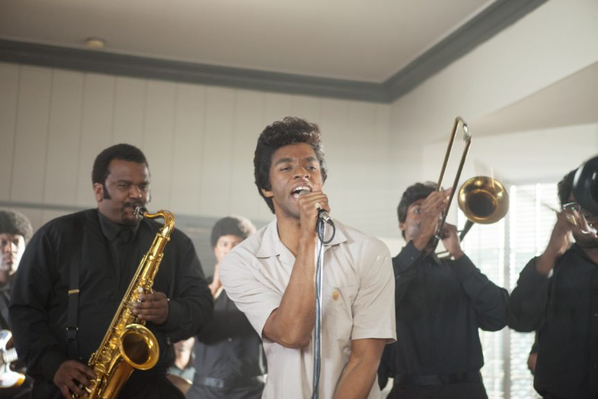 "(Left) Maceo Parker (CRAIG ROBINSON) and James Brown (CHADWICK BOSEMAN) bring down the house in <a href=""http://www.getonupmovie.com/"" target=""_blank"">GET ON UP</a> Now Playing!"