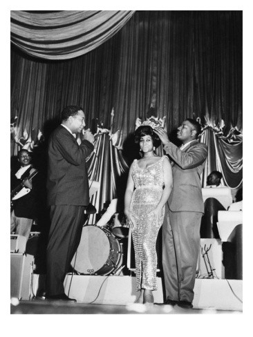 "Aretha Franklin being crowned the ""Queen of Soul"" at the Regal Theater in Chicago in May 1964. Photo: Isaac Sutton/EBONY"