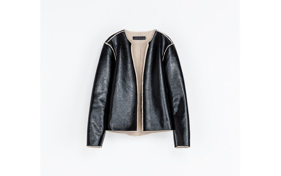 """<strong><a href=""""http://www.zara.com/us/en/woman/blazers/shiny-jacket-with-lining-c437599p1347512.html"""" target=""""_blank"""">Zara Shiny Jacket with Lining</a></strong><strong>$59.99</strong>"""