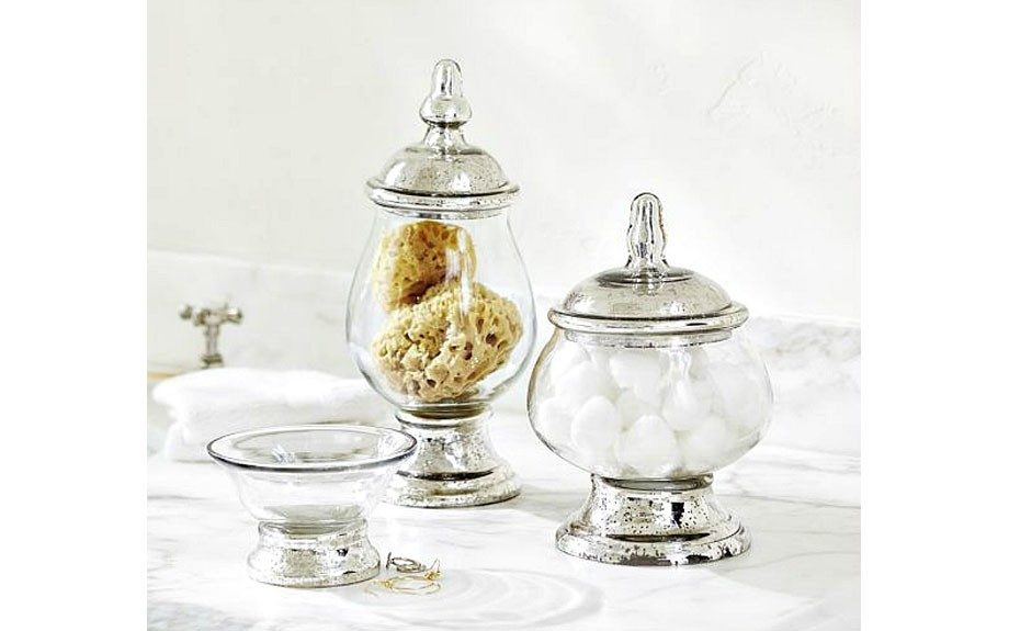 """EvleenMercury Glass Bath Accessories,<strong>$14.00 - $34.00</strong>,<a href=""""http://www.potterybarn.com/products/mercury-glass-canister-tray-bath-accessories/?cm_src=AutoRel"""">http://www.potterybarn.com/</a>"""