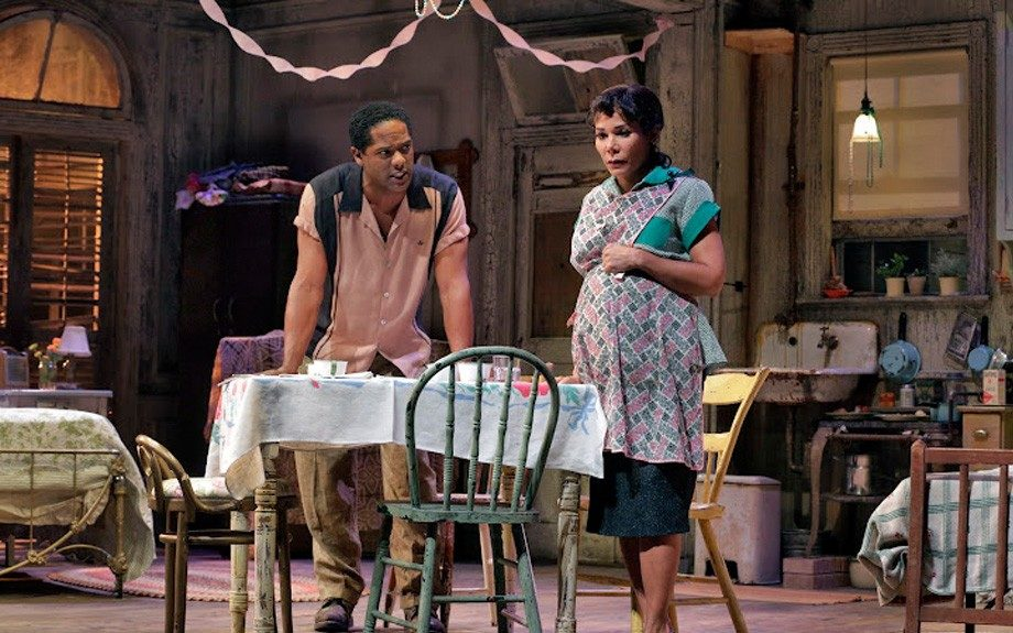 Stanley offers his wife Stella a reality check about her sister Blanche. (Photo by Ken Howard)