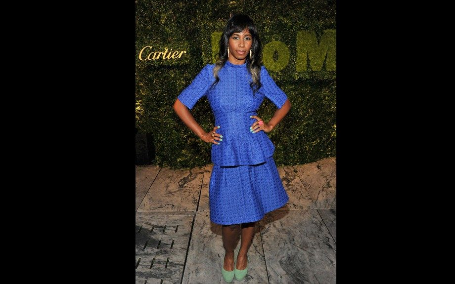 Santigold also made an appearance at the party in a sweet Marni peplum dress matching her green pea lacquered nails with her pumps