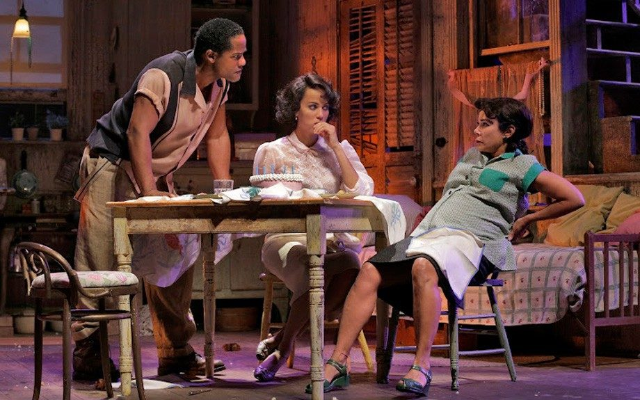 Stanley lashes out at his pregnant wife Stella as Blanche looks on in horror. (Photo by Ken Howard)
