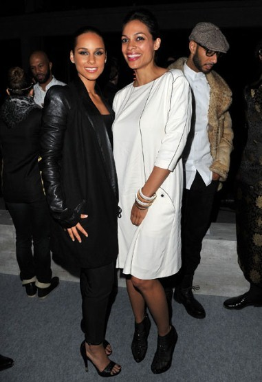 Celebs filled the room. Alicia Keys and Rosario Dawson were among the front row crows