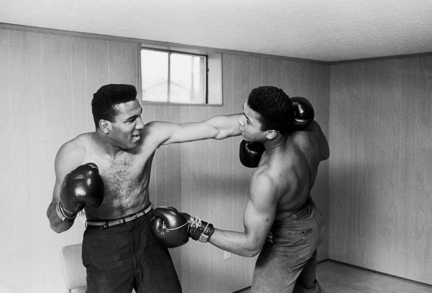<p> Muhammad Ali and his brother Rudy demonstrate their boxing skills during a mock fight in February of 1963 (Moneta Sleet, Jr./Ebony Collection)</p>