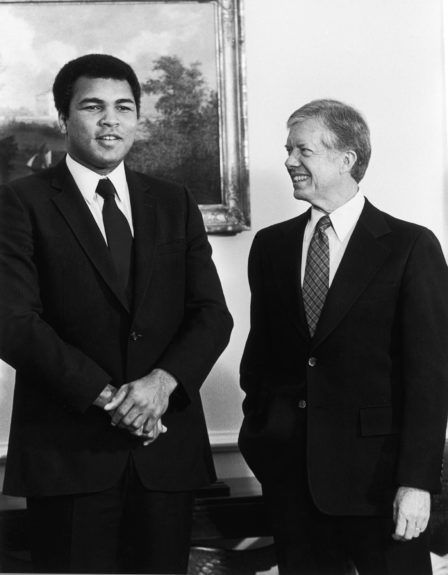 <p> Muhammad Ali visits with President Jimmy Carter in the Oval Office of the White House on January 7, 1980 (Maurice Sorrell/Ebony Collection)</p>