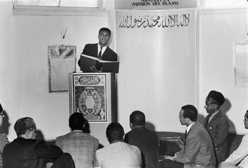 <p> Muhammad Ali as a guest speaker at a mosque in Frankfurt, Germany in 1966(Isaac Sutton/Ebony Collection)</p>