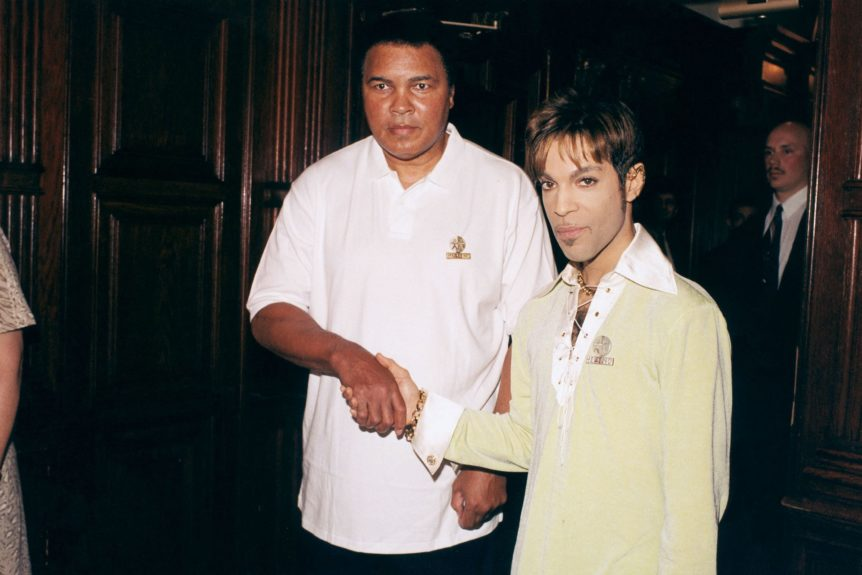 <p> Muhammad Ali and Prince at a press conference in Washington D.C. in 1997 detailing plans for the World Healing Honors (Frederick Watkins, Jr./Ebony Collection)</p>