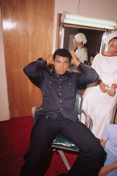 """<p> Muhammad Ali is photographed backstage before """"The Muhammad Ali Variety Special"""" in July of 1975. (Isaac Sutton/Ebony Collection)</p>"""