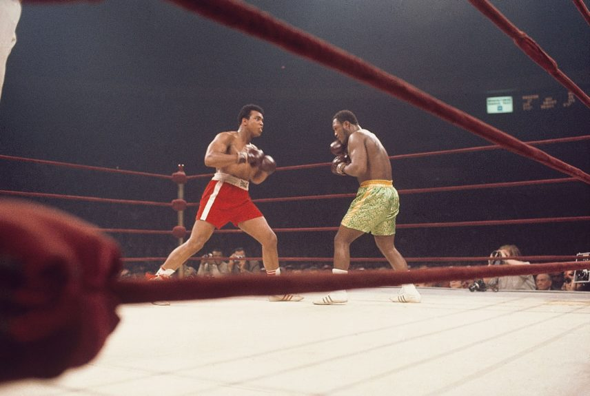 """<p> Muhammad Ali and Joe Frazier battle it out in the ring during their historic """"Fight of the Year"""" on March 8, 1971 (Moneta Sleet, Jr./Ebony Collection)</p>"""