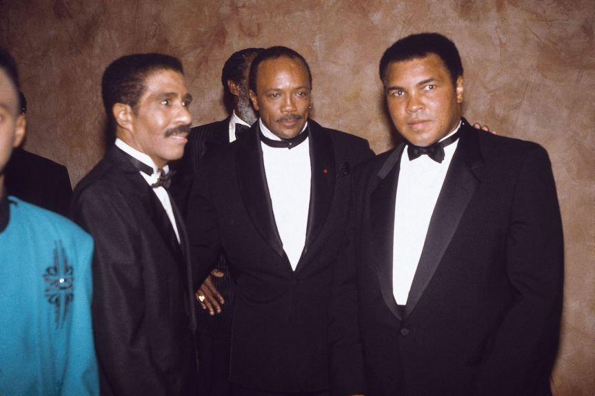 <p> Greats in their respective fields, three time heavyweight champion Muhammad Ali, comedian Richard Pryor, and music producer Quincy Jones in 1991 (James Mitchell/Ebony Collection)</p>