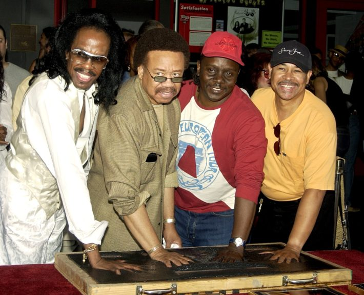 <p> 	(left) Earth, Wind, and Fire members, from left, Verdine White, Maurice White, Philip Bailey and Ralph Johnson, leave their hand imprints at the Hollywood Rock Walk (Photo: Matt Sayles/AP)</p>