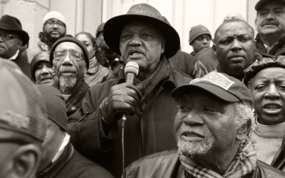 "<p> 	CHICAGO: The Rev. Jesse Jackson speaks to demonstrators on Friday, Nov. 27, 2015, in Chicago, as community activists and labor leaders hold a demonstration billed as a ""march for justice"" in the wake of the release of video showing an officer fatally shooting Laquan McDonald. (AP"