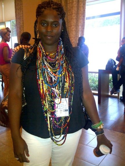 Marketing and Communications Exec Abrima Erwiah wore a fabric necklace by designer Christie Brown