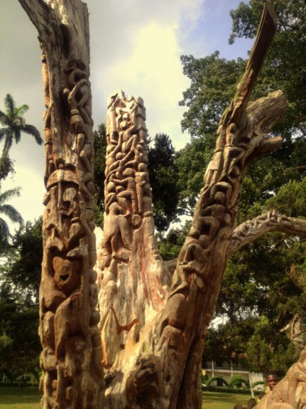 These hand-carved tree branches at Aburi Botanical Gardens are a work in progress.
