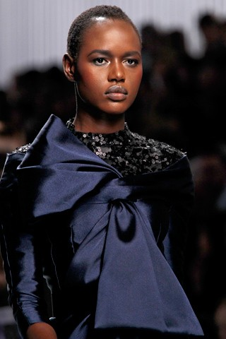 Ajak Deng catwalking the Christian Dior Fall 2012 show. Photo: Gianni Pucci / GoRunway.com via Style.com