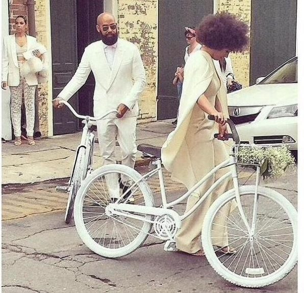 Yes, Solange and hubby Alan Ferguson biked to their wedding with style for days. Credit: necolebitchie.com