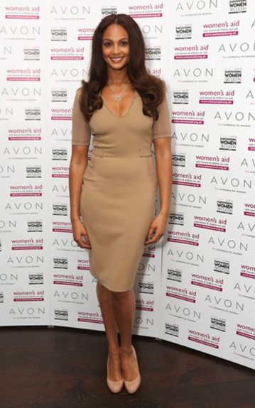 Alesha Dixon wore a nude, figure hugging dress with nude pumps to the Avon and Women's Aid UK Empowering Women Awards in London