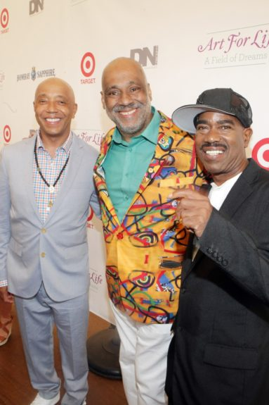 Russell Simmons with brother Danny Simmons and Kurtis Blow at Art for Life