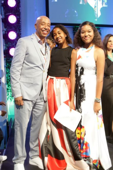 Russell Simmons withdaughters Aoki Lee and Ming Lee Simmons