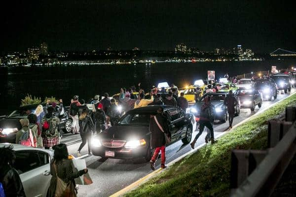 Protesters on the West Side Highway (Photo: YourAnonGlobal/Twitter)