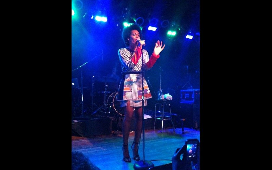"""<span style=""""font-size: 12px;"""">Solange Knowles performed at Bottom Lounge in Chicago in a </span>Ostwald<span style=""""font-size: 12px;""""> </span>Helgason<span style=""""font-size: 12px;""""> Nautical Circles Sweater and a Layered Graphic Links Print Skirt. Photo Credit: Splash</span>"""