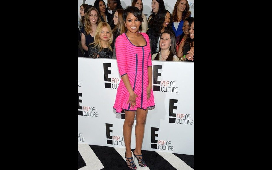 """<span style=""""font-size: 12px;"""">Alicia </span>Quarles,<span style=""""font-size: 12px;"""">who serves as an E! Correspondent, looked great at the New York City E! 2013 Upfront in a Nanette </span>Lepore<span style=""""font-size: 12px;""""> Pink Auction Striped Knit Dress. Photo Credit: Getty</span></p"""