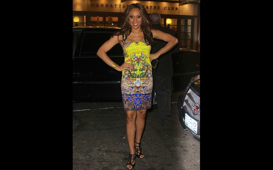 """<span style=""""font-size: 12px;"""">Deborah Cox looks amazing in Roberto </span>Cavalli<span style=""""font-size: 12px;""""> and was spotted at Broadway show <em>The Trip to Bountiful </em>in a </span>Citronelle<span style=""""font-size: 12px;"""">printed dress from the Italian Brand. Photo Credit: Getty<"""