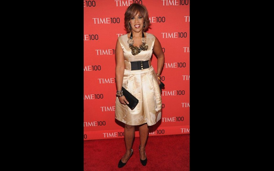 """<span style=""""font-size: 12px;"""">Gayle King really played up the accessories in this champagne frock, and though she looks nice, we wish she reconsidered the shoes. Photo Credit: </span>WENN"""