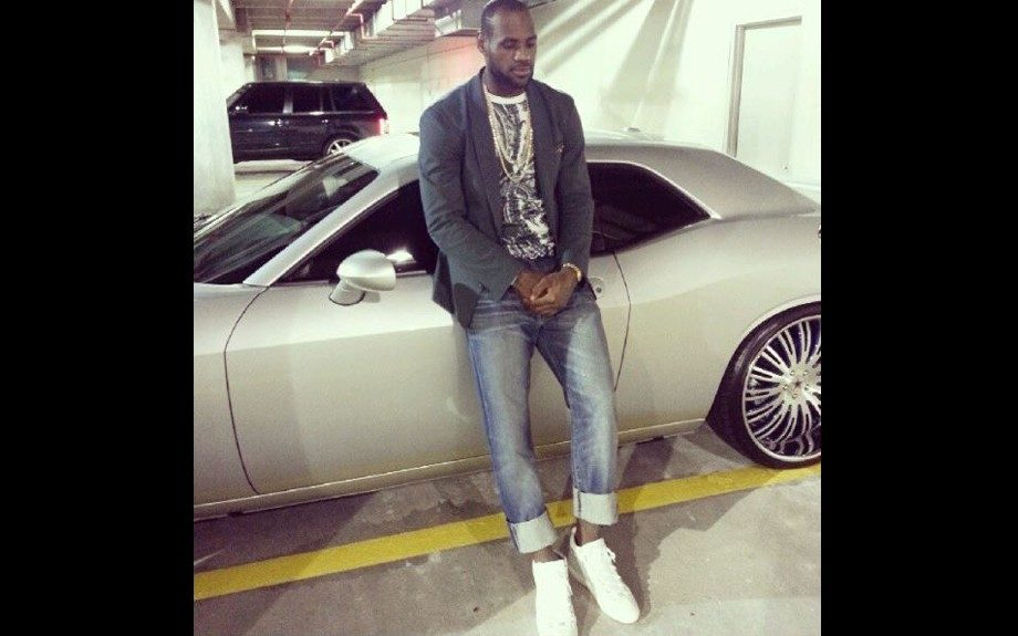 """<span style=""""font-size: 12px;"""">LeBron James struck an """"effortless"""" pose before heading out in a Givenchy Green Paisley and Vintage Airplane Print T-shirt, a blazer, jeans and </span>Balenciaga<span style=""""font-size: 12px;""""> Arena sneakers. Photo Credit: </span>Instagram"""