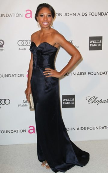 We occasionally love a break from black, and Allyson Felix was lovely in her strapless navy gown. Photo Credit: Getty