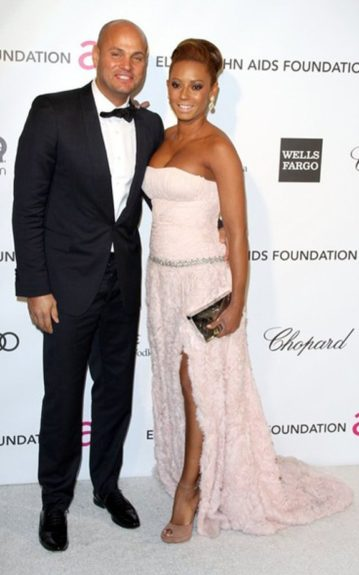 Mel B. and her hubby took a well-deserved night out on the town in a rose slitted gown. Photo Credit: Getty