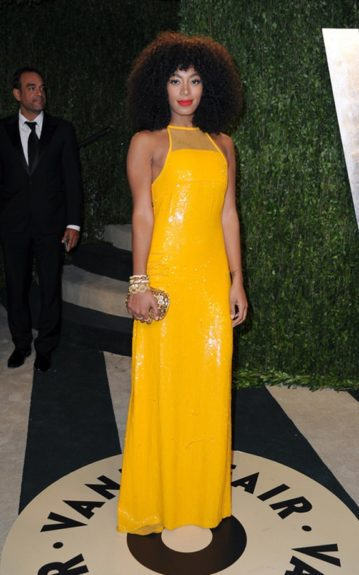 Solange Knowles was radiant in her sequined yellow Emilio Pucci gown, at an Oscars after party. Photo Credit: INF