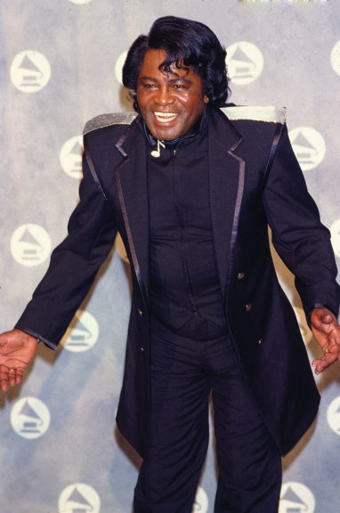 Godfather of Soul James Brown makes an appearance at the 34th Annual Grammy Awards held at New York's Radio City Music Hall on February 25, 1992.  (Frederick Watkins, Jr./Ebony Collection)