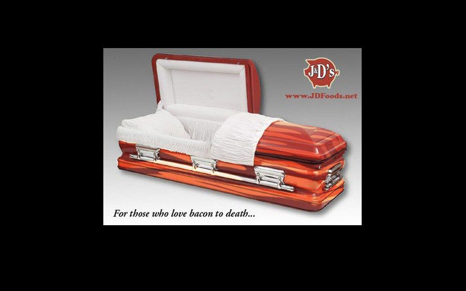 For those who love bacon to death, a bacon coffin can be yours for $2999.99! Not literally made from bacon, the bacon coffin is painted to look as if it is covered in savory strips. The interior does come with a bacon memorial tube and a bacon-themed air freshener.